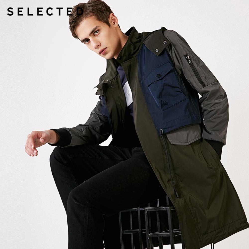 SELECTED Men's Contrasting Windbreaker Long Jacket Outwear Hooded Outwear Mid-length Trench Coat C   4191OM523