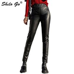 Pantaloni di Cuoio genuino Minimalista Highstreet Moto di Alta Vita di pelle di Pecora Pantaloni Della Matita Delle Donne di Autunno Inverno Solid Slim Fit Pantaloni