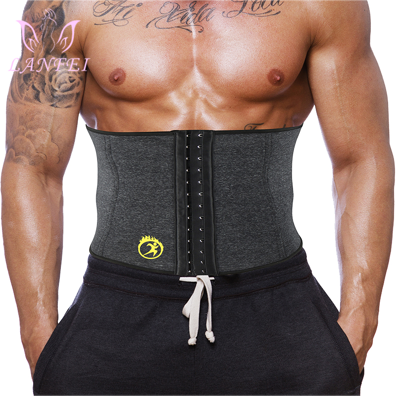 LANFEI Waist Trainer Body Shaper Slim Underwear Mens Thermo Neoprene Gym Fitness Modeling Corset Waist Support Weight Loss Belt