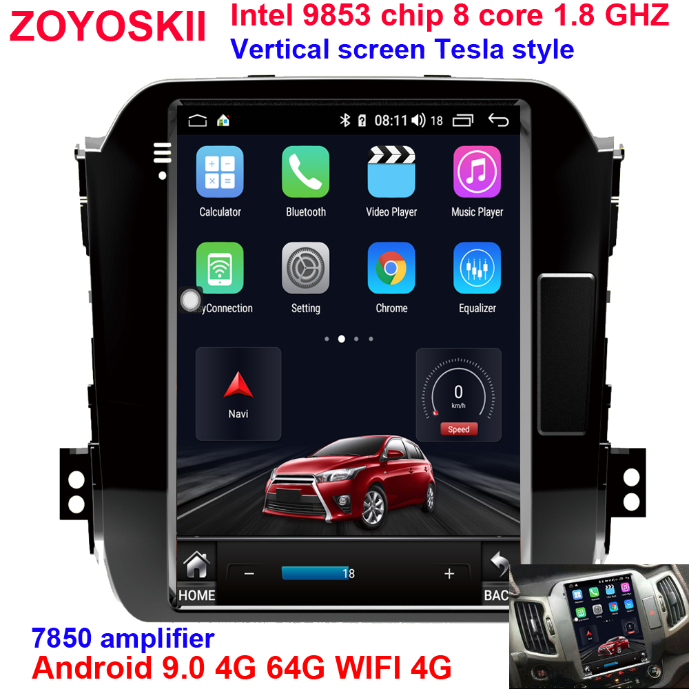 ZOYOSKII Android 9.0 10.4 Inch Vertical Screen Tesla Style Car Gps Radio Navigation Player For KIA Sportage R 2011-2015