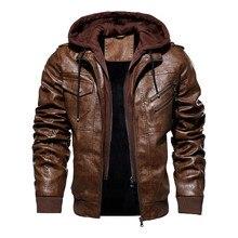 Inverno jaqueta de couro da motocicleta com capuz jaqueta de lazer quente dos homens casaco de couro do plutônio M 5XL