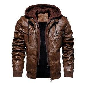 Image 1 - Inverno jaqueta de couro da motocicleta com capuz jaqueta de lazer quente dos homens casaco de couro do plutônio M 5XL