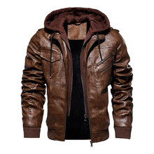 winter mens leather jacket motorcycle hooded jacket mens warm Leisure PU leather coat M 5XL