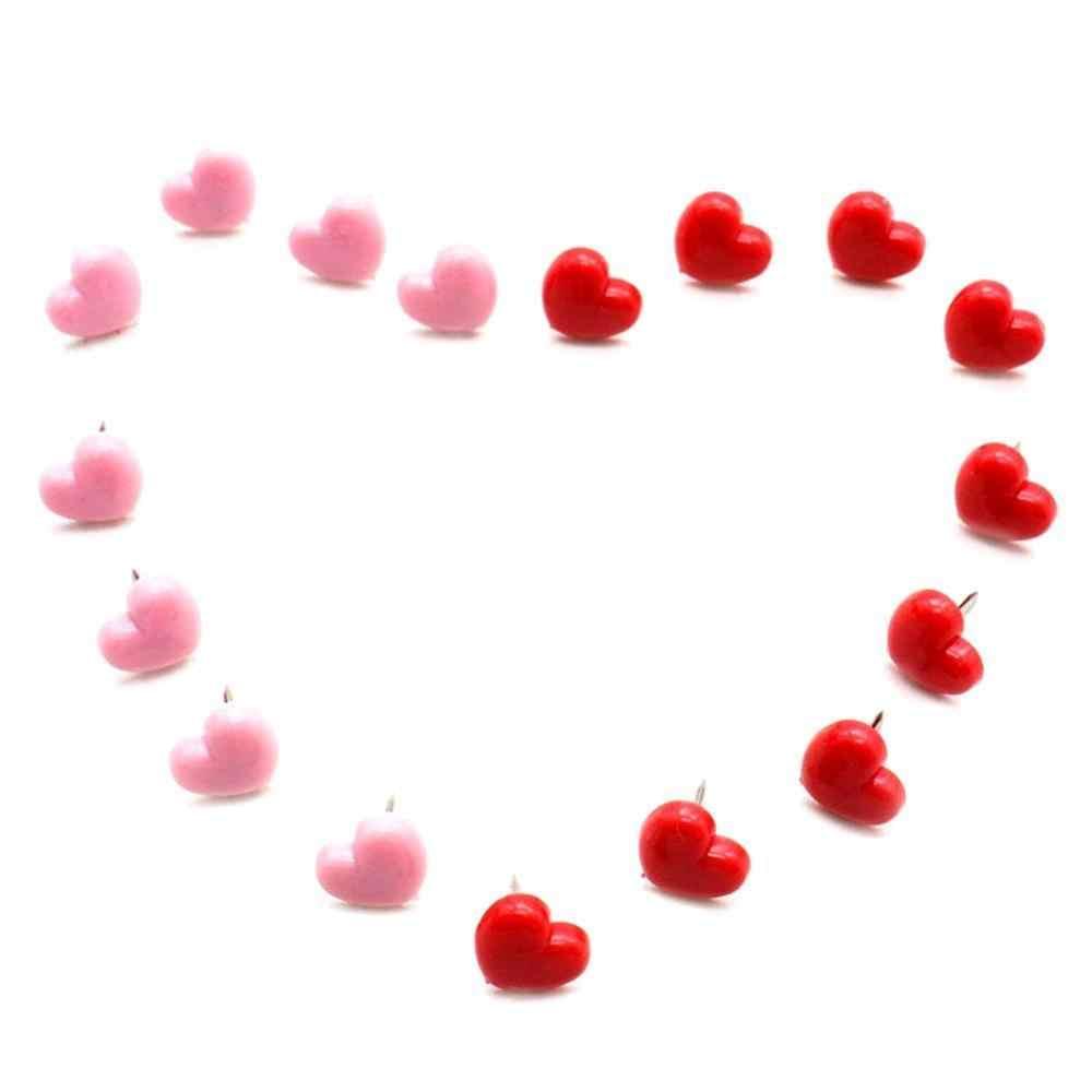 A Forma di cuore 50pcs di Qualità di Plastica Bordo di Sughero di Sicurezza Colorato Push Spilli Puntina Da Disegno Ufficio Accessori per la Scuola Forniture Decorativi