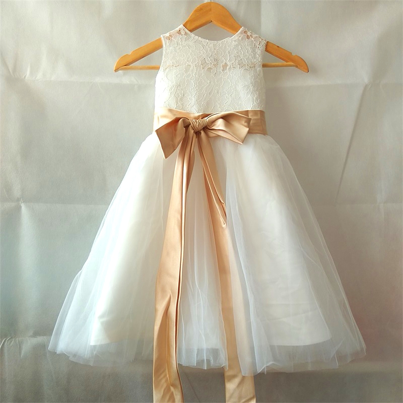 Lovely Princess Flower Girl Dresses with Sashes Little Girls Kids/Children Dress for Wedding Ball Party Pageant Communion Dress