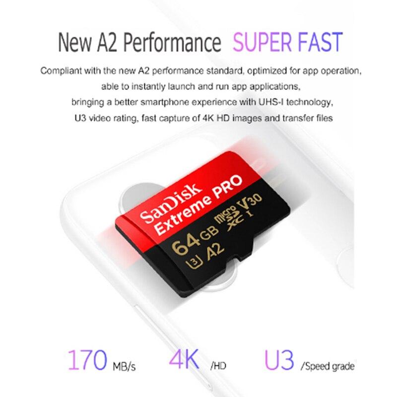 Карта памяти SanDisk Extreme PRO, 128 ГБ, 256 ГБ, 400 ГБ, 64 ГБ, U3, 4K, A2, V30, TF-карта, 32 ГБ, 170 Мб/с, microsd, SDHC, SDXC-1