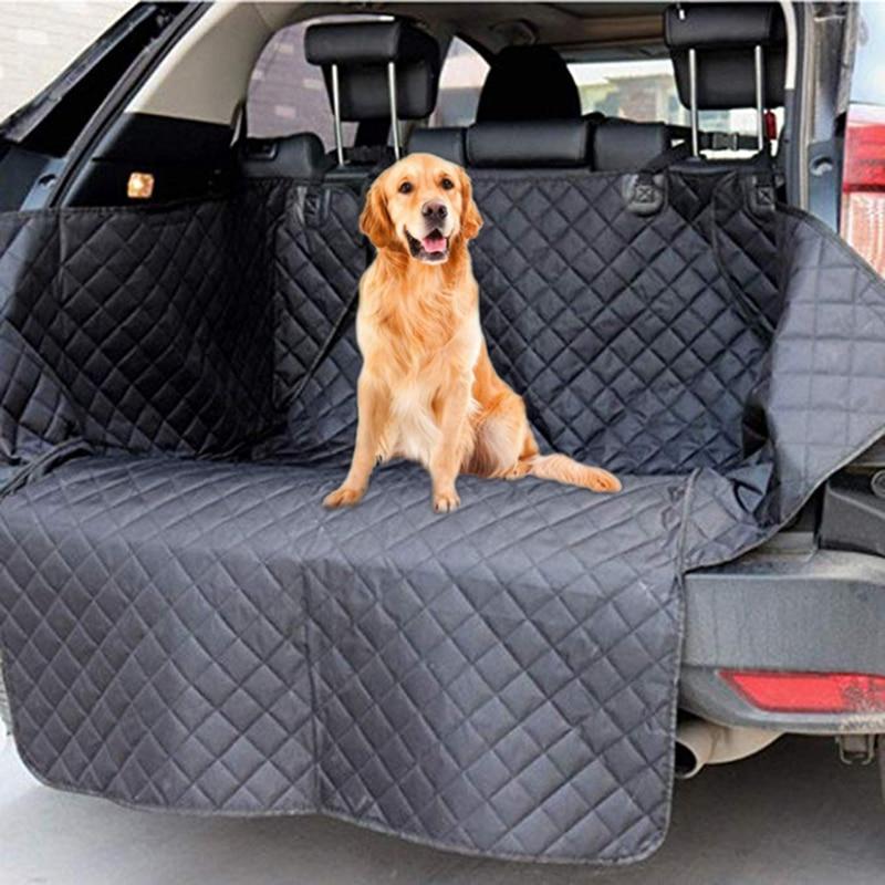 Lanke cão capa de assento de carro, anti-sujo à prova dwaterproof água esteira de assento de tronco automático, pet portadores protetor hammock coxim com cinto de segurança