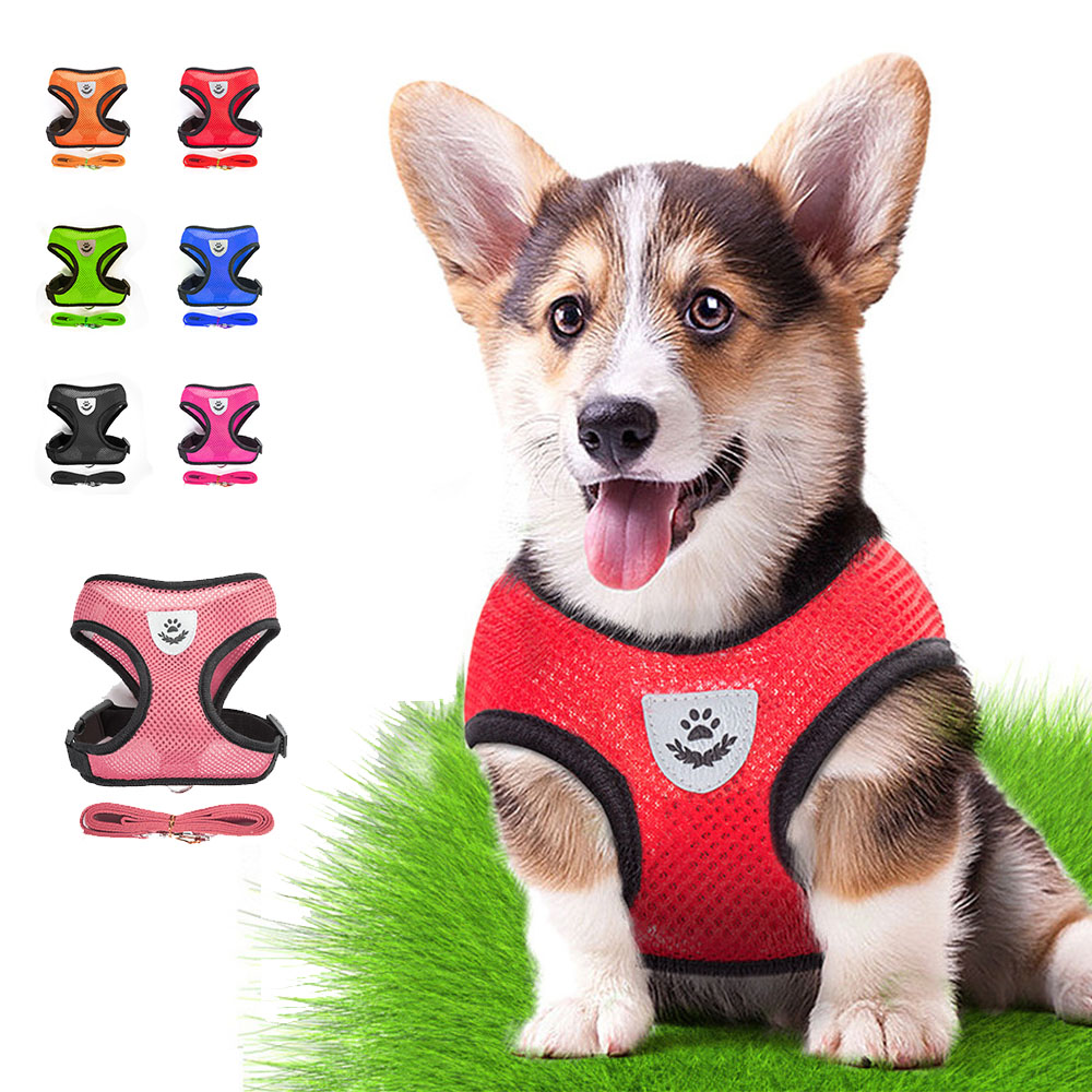 Reflective Dog Harness Vest No Pull Puppy Dogs Cats Harness Adjustable Mesh Vest Pet Harness And Leash Set For Small Medium Dog