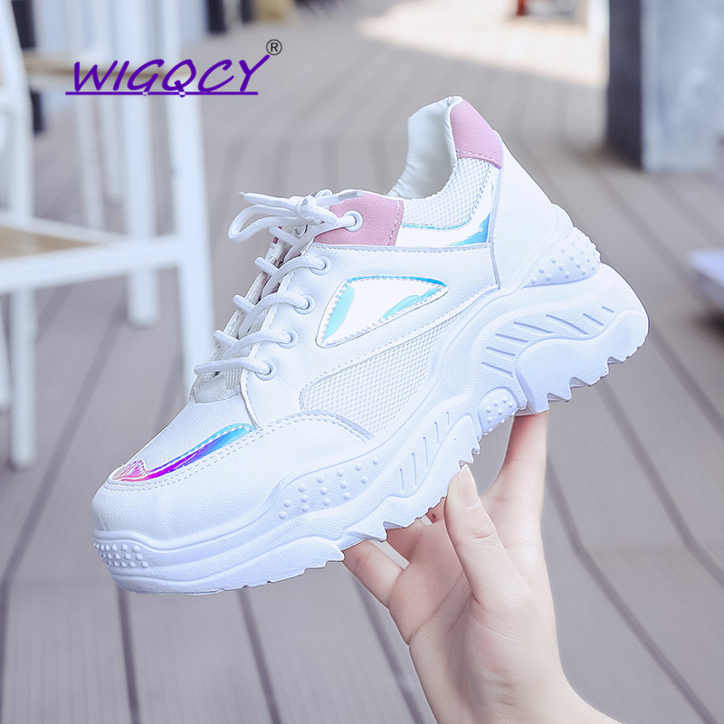 Fashion Colorful Laser Breathable Platform Sneakers Women 2019 Spring Autumn Shoes Women Breathable Mesh Bling Lace-Up Sneakers