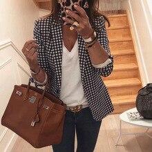 Black Plaid Suit Loose Basic Vintage Jacket Female Coat Bussiness Women