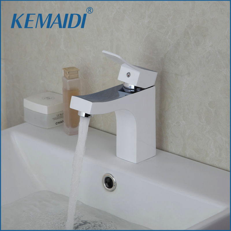 KEMAIDI Bathroom Sink Faucets Single Handle White Mixer Hot and Cold Bathroom Sinks Faucet Mixer Basin Tap Solid Brass Mixer