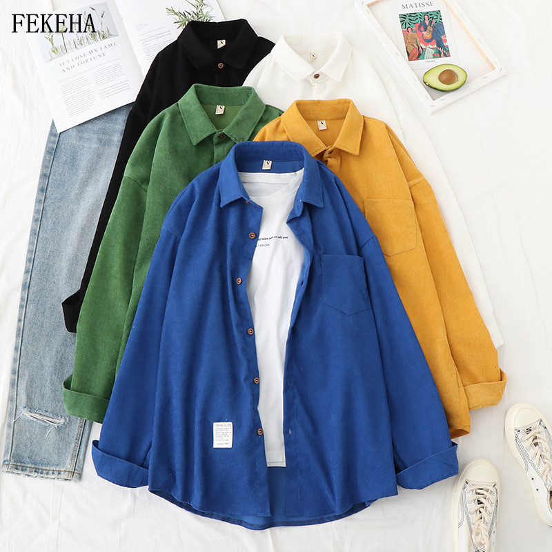 Corduroy Shirts Womens Blouses And Tops Long Sleeve Autumn Spliced Ladies Solid Loose Boyfriend Style Shirts Female Outwear