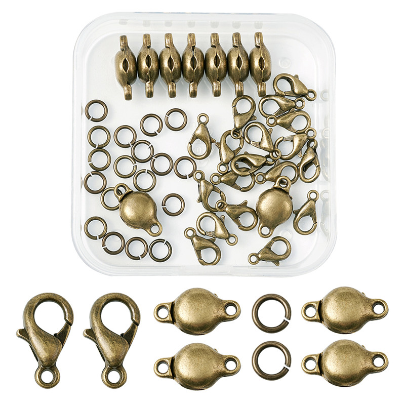 1 Box Alloy Lobster Claw Clasps and Jump Rings Set Jewellery Findings Silver