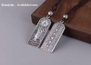 Image 2 - 100% 925 Silver Tibetan Amitabha Buddha Statue Pendant Buddhist Kuanyin Pendant Tibetan Avalokitesvara Pendant Good Luck Amulet