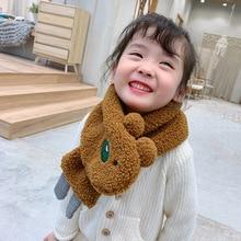 Mcmo/детский зимний шарф высшего качества с имитацией шерсти ягненка для мальчиков и девочек; детский нагрудник; плюшевый комплект с воротником; теплый шарф для малышей; шарфы