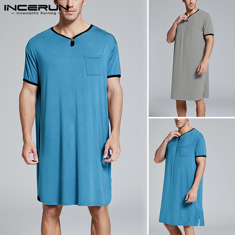 INCERUN Men Sleep Tops Short Sleeve 2020 Breathable Long T Shirt Summer Casual V Neck Loose Men Sleepwear Homewear S-5XL