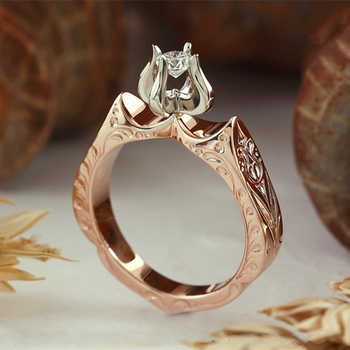 Milangirl New Fashion Flame Weeding Ring for Woman 1ct AAA CZ Stone Flower Ring Banquet Party Ceremony image
