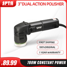 SPTA 3inch Mini Car Polisher 780W/10mm Dual Action Polisher DA Car Polisher Auto Polisher Machine with Sponge Polishing Pads Set
