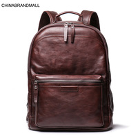 Genuine leather large capacity casual men backpack travel bags