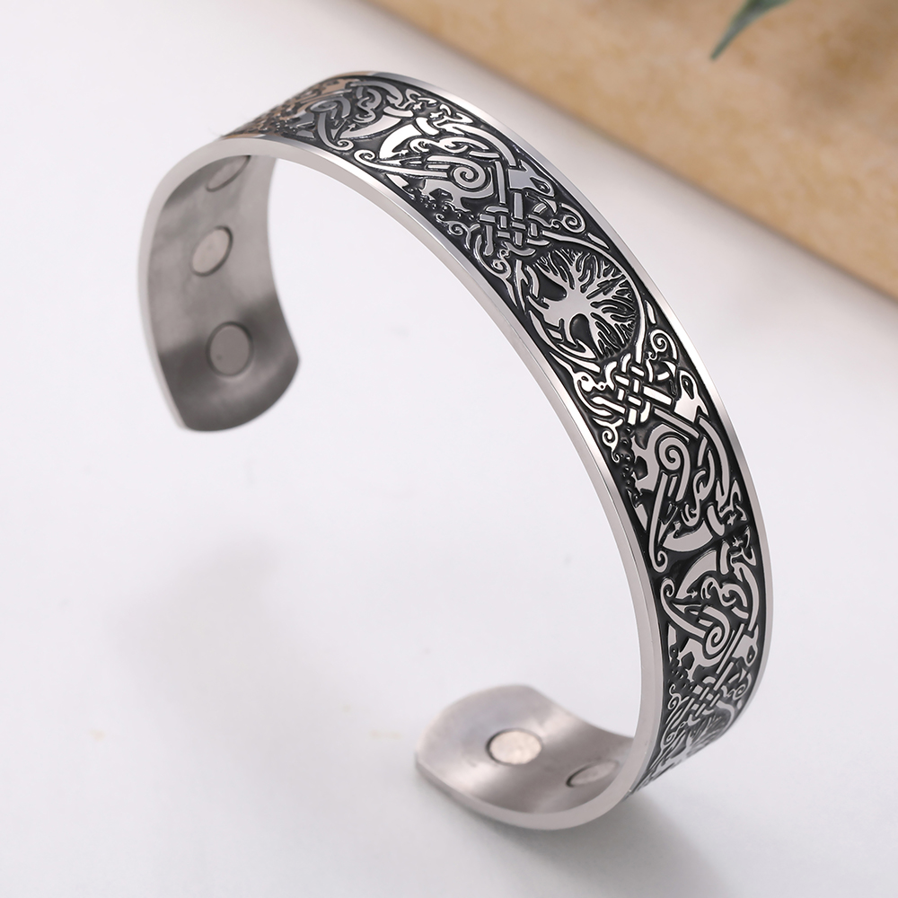 Viking Bangles Endless Love Knots Tree of Life Birds 316L Stainless Steel Cuff Magnetic Bangle Therapy Health Men Jewelery
