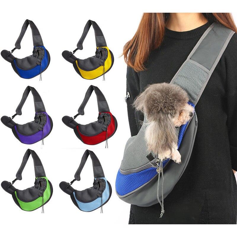 Konfor Pet köpek taşıma çantası kediler yavru açık çanta Mesh Oxford basit omuz çantası Sling ön örgü seyahat çantası omuzdan askili çanta