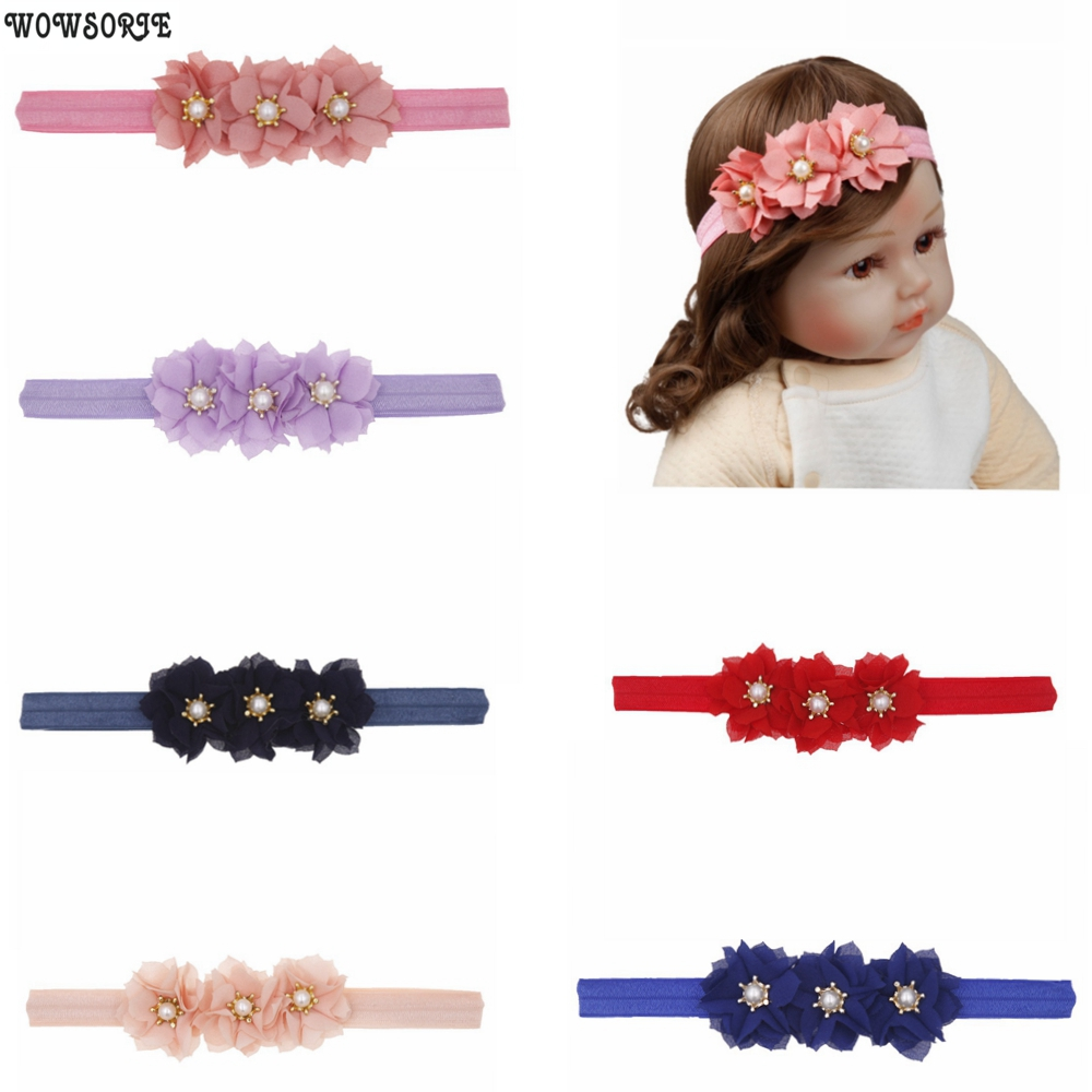 Delicate Baby Girl Pearl Flower Headband Elastic Hairband Baby Hair Accessories