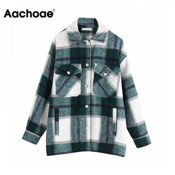 Aachoae Women Plaid Jackets Coat Elegant Ladies Turn Down Collar Wool Blend Coats Long Sleeve Spring  Female Outwear - discount item  38% OFF Coats & Jackets