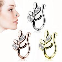 1Pcs Gefälschte Nase Ring Blume Blatt Clip Auf Nase Ring Faux Nase Ring Gefälschte Piercings Tragus Ohrringe Mode Nase ohr Körper Schmuck