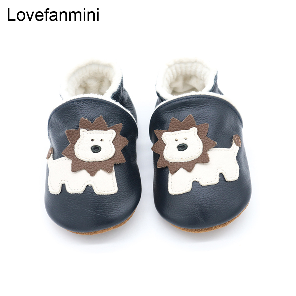 Baby Shoes Soft Genuine Cow Leather Boys Girls Infant Toddler Moccasins Slippers First Walkers  Plus Velvet Warm Winter Lion 503