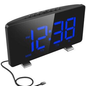 2020 cyfrowy budzik, ELEGIANT budziki do sypialni z radiem FM, podwójne alarmy, ekran LED 6.7 cala, Port USB do ładowania,
