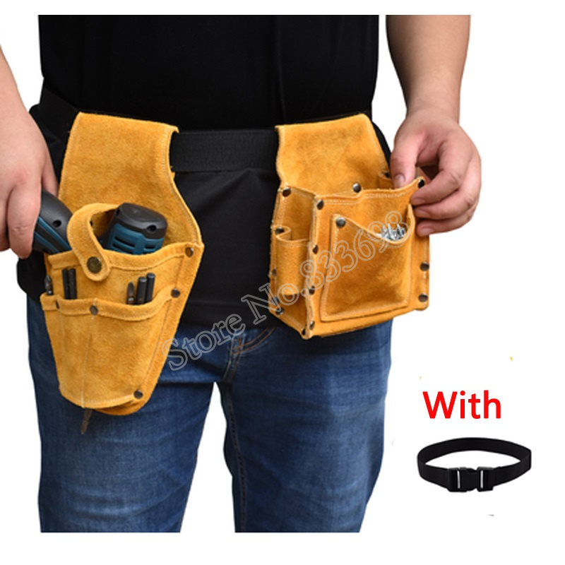 Image 4 - Cowhide Wearable Waist Pack Electric Drill Bag Screws Nails Drill Bit Metal Parts Fishing Travel Tool Storage Bags with BeltTool Bags   -