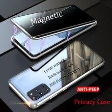 Gizlilik Samsung Galaxy S20 Ultra manyetik temperli cam kılıf Samsung not 10 S10 S20 artı S10E Anti peep kapak