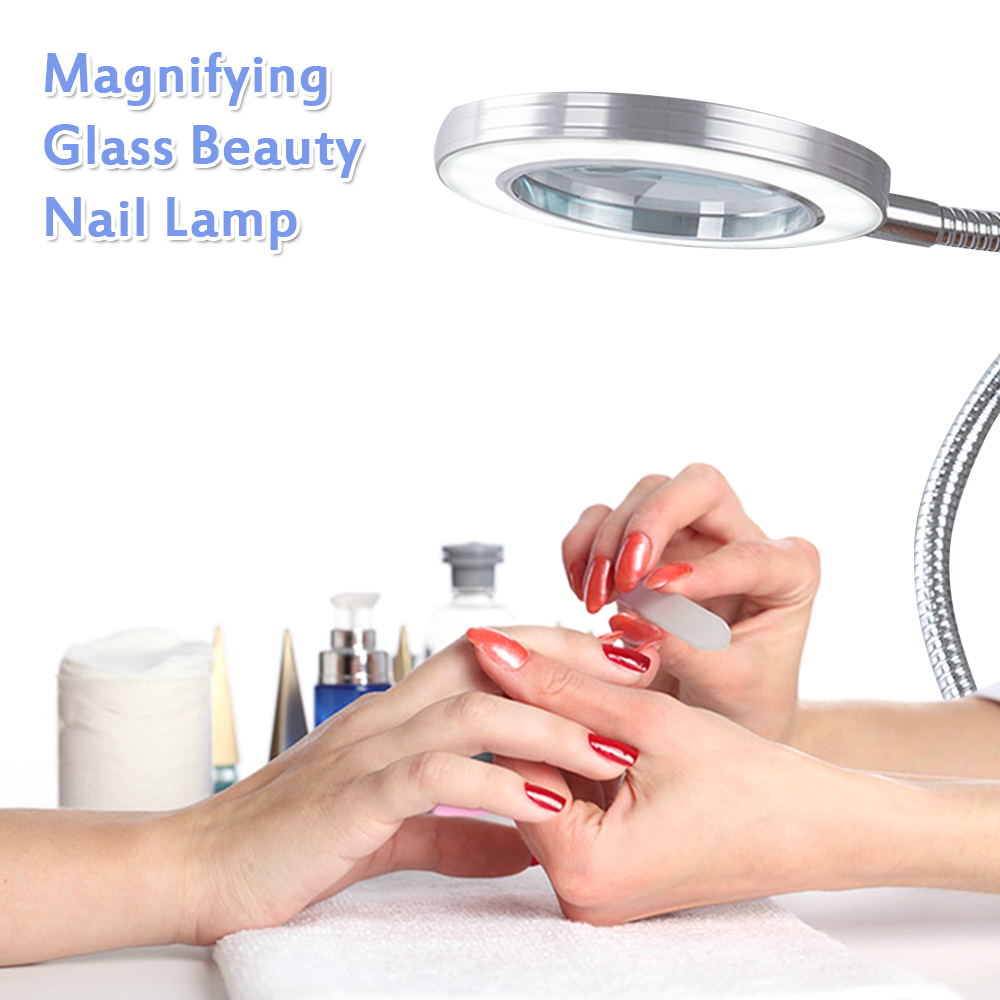 8X Makeup Tattoo Magnifying Lamp Nail Art USB Cold Light Led Non Slip Equipment Clamp Table Glass Lamp Beauty Salon Desk Lamp
