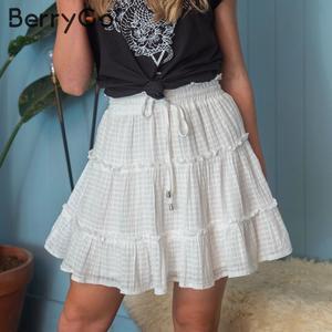Image 5 - BerryGo drukuj mini kobiety spódnice wysokiej talii polka dot tassel zielona linia spódnica letnia Sexy wzburzyć plaża kobiet spódnice tutu 2019