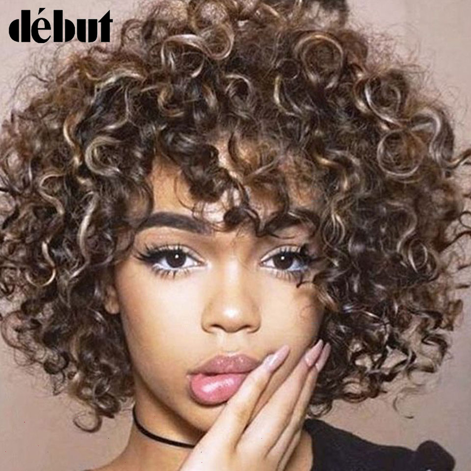 Debut Curly Short Human Hair Wigs For Women Ombre Pixie Cut Wigs Human Hair Cheep Wigs For Black Women Short Wigs Black Friday