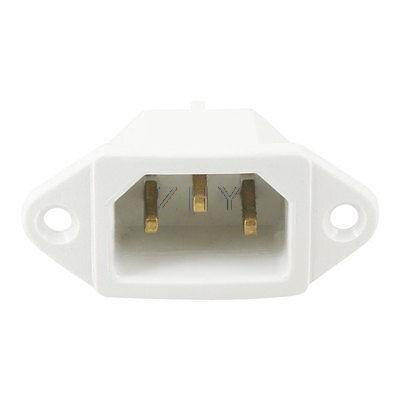 Işıklar ve Aydınlatma'ten Konnektörler'de 250V 10A 3 Pins Beyaz Kabuk C14 Erkek Fiş Güç Giriş Soket Adaptörü title=