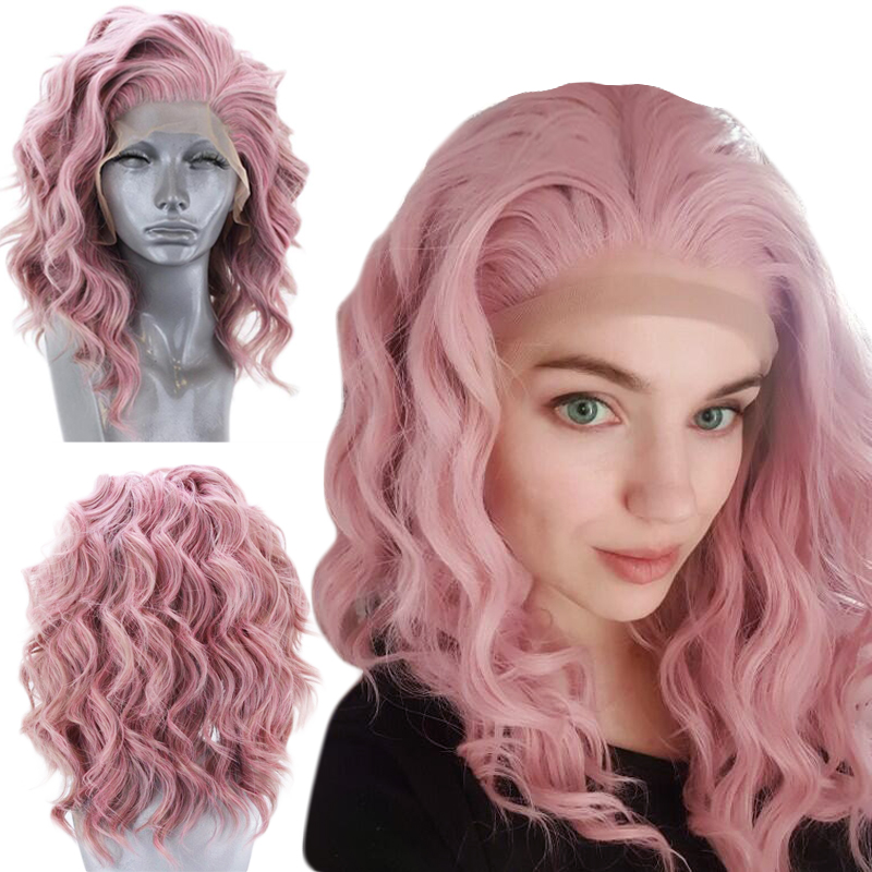 Anogol High Temperature Fiber Free Part 360 Frontal Short Deep Wave Bob Hair Wigs Pink Synthetic Lace Front Wig For Women