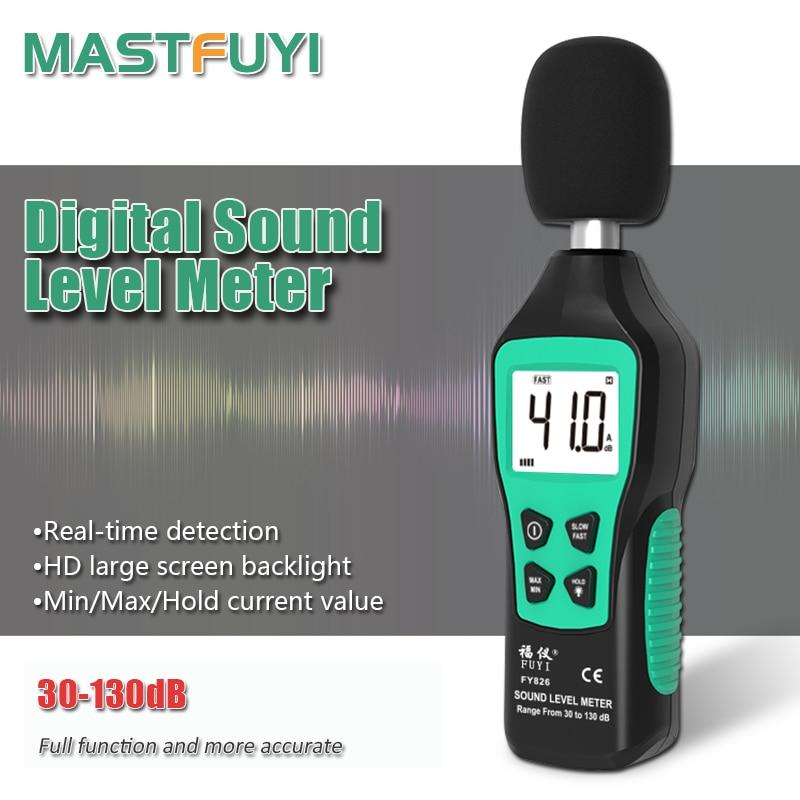Mastfuyi FY826 измеритель уровня шума измерительный прибор дБ измеритель уровня звука Макс/мин режим с ЖК-подсветкой