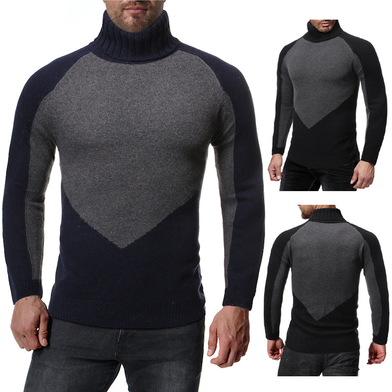 Pullover Men'S Turtlenecks Slim High-Neck Men Sweater Color Matching Warm Winter Mens Sweater European Code Male Sweater