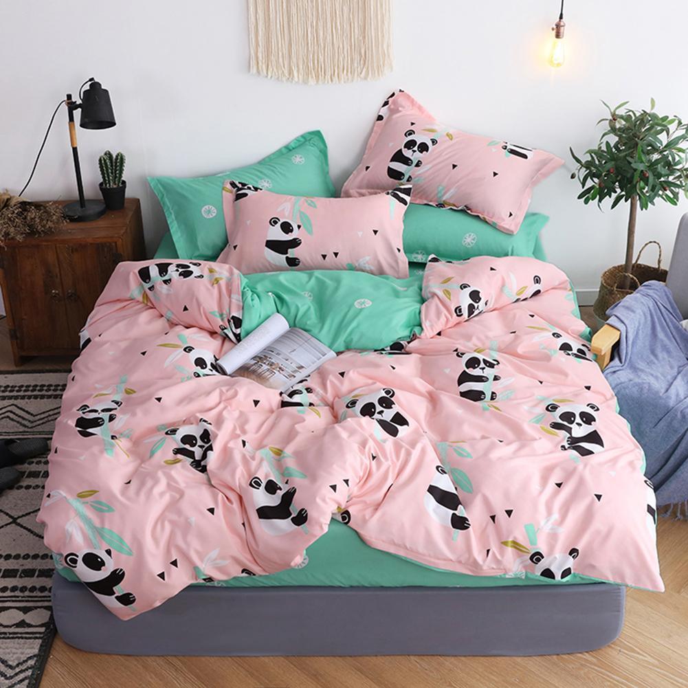 Hot 3/4Pcs Panda Print Bedclothes Adult Kids Soft Bed Sheet Duvet Cover Pillow Case