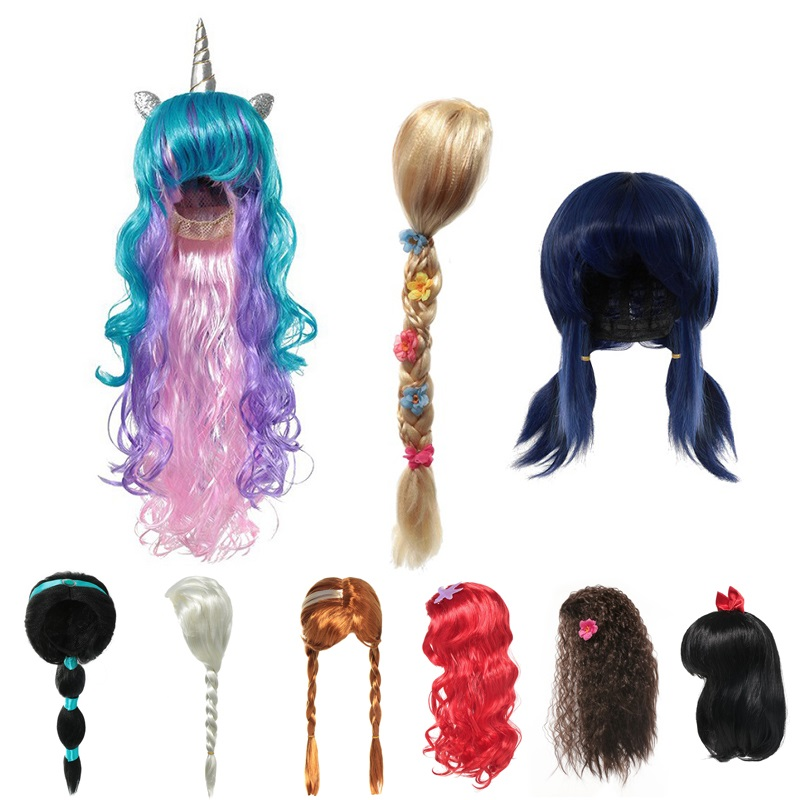 Kids Unicorn Rapunzel Ladybug Wig Girls Princess Photography Props Children Girl Elsa Anna Aurora Braid Ariel Jasmine Moana Hair
