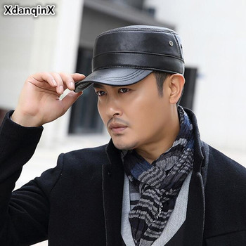 XdanqinX 2019 Autumn Winter Mens Flat Cap Genuine Leather Hats Warm Army Military Hat Snapback Adjustable Size Caps
