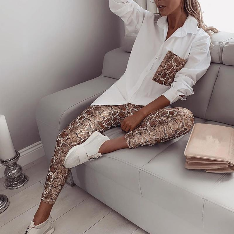 Women Snake Print Two Piece Set Leopard Pockets Turn-Down Collar Shirt Pencil Pants Suit Fashion Casual Outfits Tracksuits