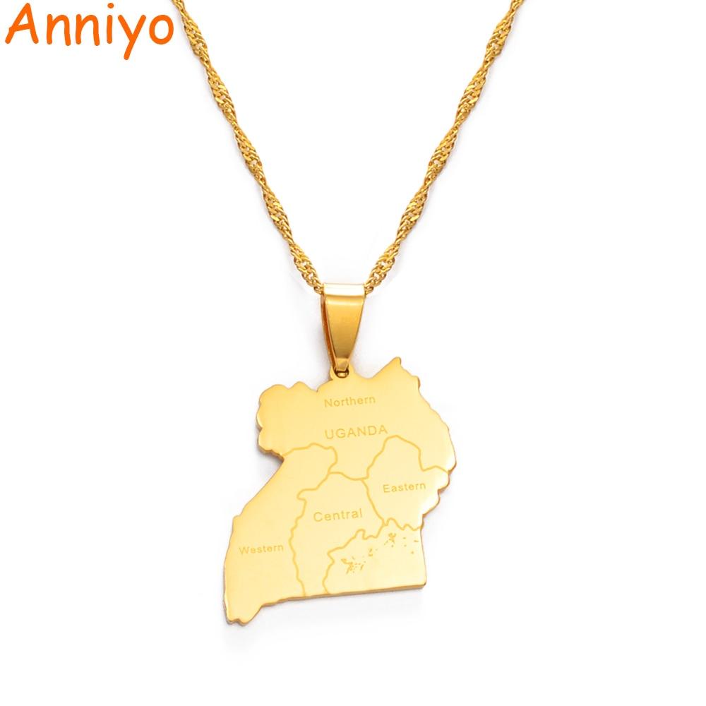 Ожерелье с подвеской Anniyo карты и города Уганды, ювелирные изделия золотого цвета, карточки ювелирные изделия #155321