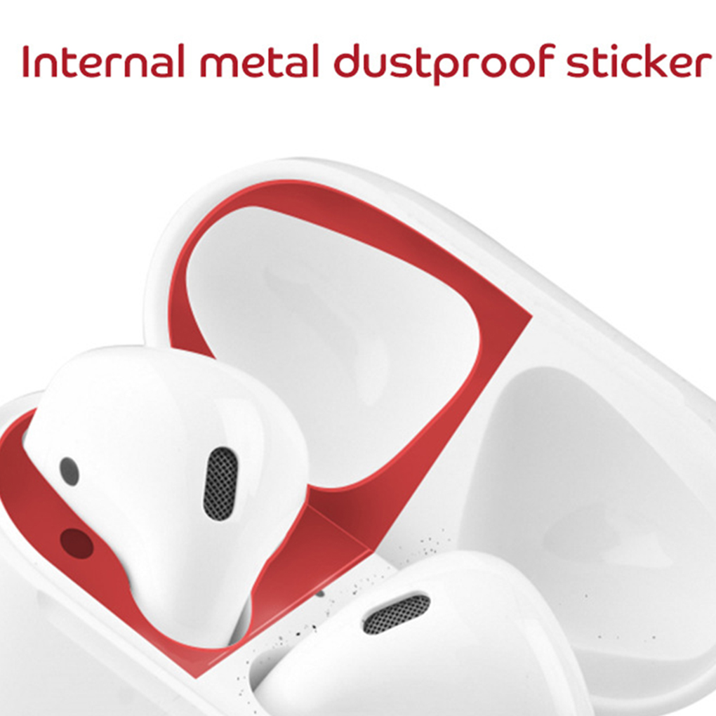 Metal Dust Guard Sticker For AirPods 1 2 Case Cover Dust-proof Protective Sticker Skin Protector For AirPods Accessories