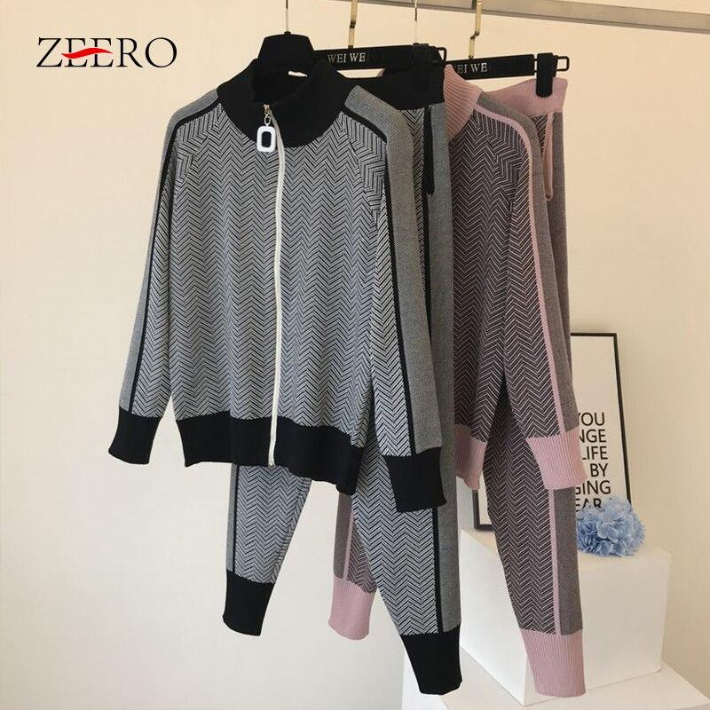 Women Turtleneck Zipper Cardigans 2 Piece Set Tracksuit Autumn  Winter Sweatsuits Knitted Sport Sweater Pant Set Trousers SuitsWomens  Sets