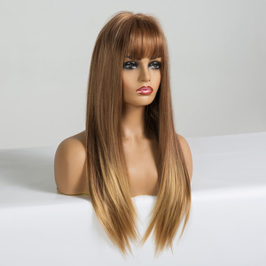 Image 2 - EASIHAIR Long Straight Light Blonde Ombre Wigs with Bangs Synthetic Wigs for Black Women Cosplay Wigs High Temperature Fiber Wig