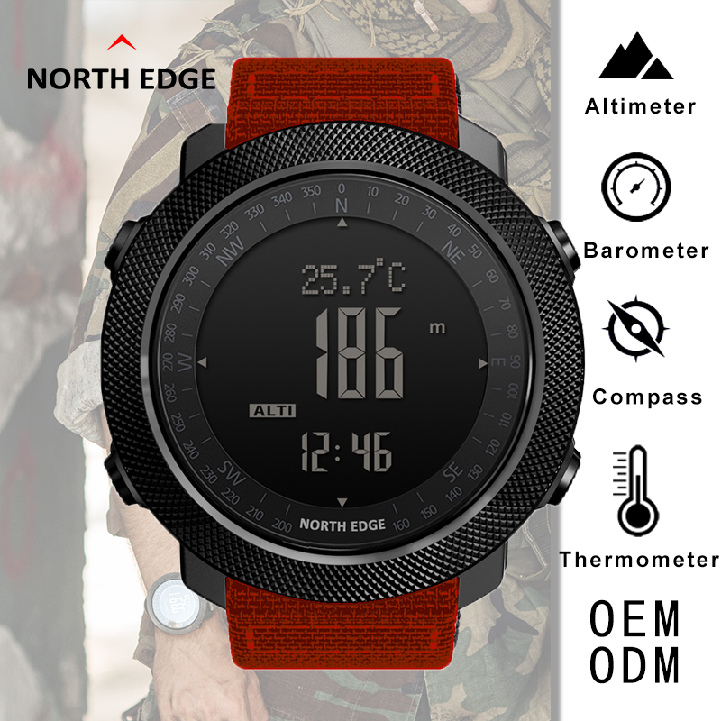 Спортивные часы, компас, нейлоновый ремешок, будильник, альтиметр, барометр, водонепроницаемые часы для мужчин, цифровые часы