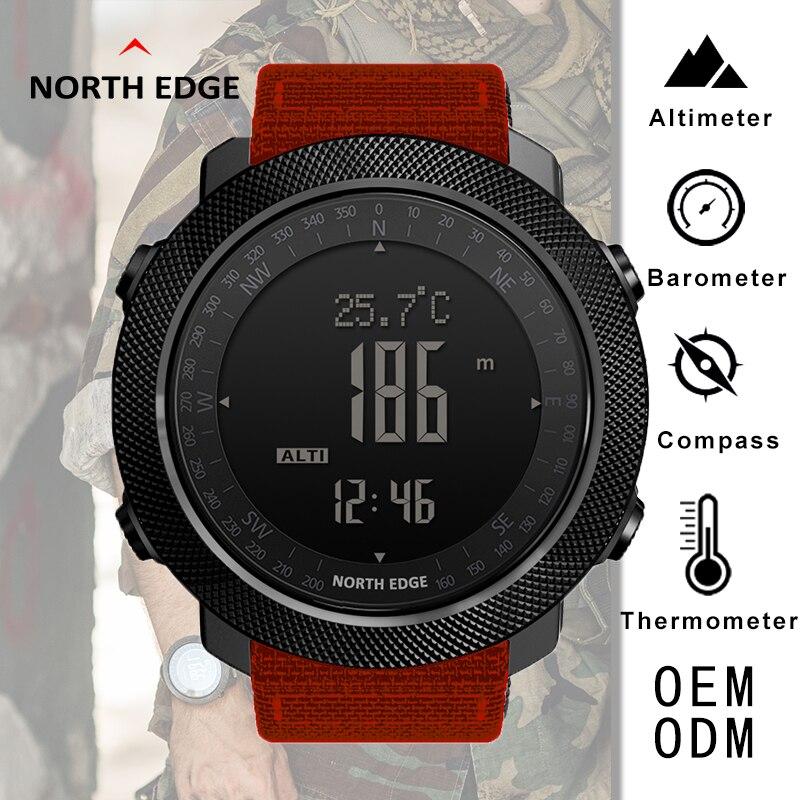 Montres de Sport boussole bord nord Bracelet en Nylon Bracelet réveil altimètre baromètre étanche montres pour hommes montre numérique