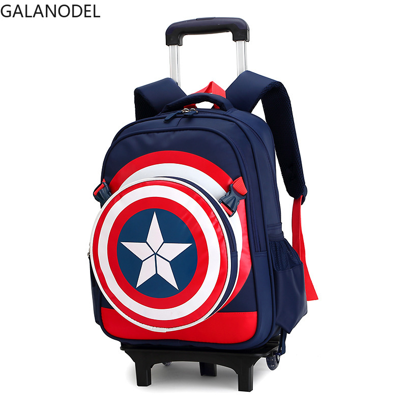 Primary School Cartoon Bags On Wheels Captain America Backpack For Boy Children School Bag With Wheels Cool Favorite Gift